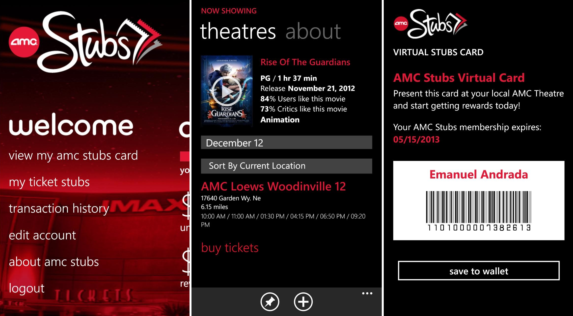 amc theaters brings wallet and lockscreen support to windows phone 8 winsource. Black Bedroom Furniture Sets. Home Design Ideas