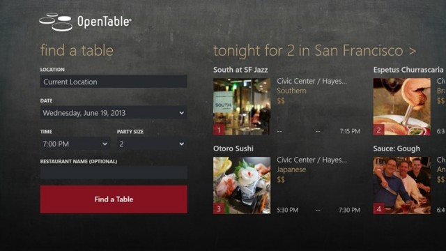 opentable windows 8