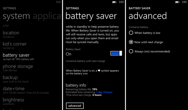 battery saver windows phone