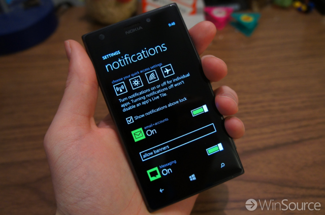 Windows Phone 8.1 Notification Settings