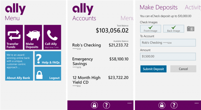 ally bank screens