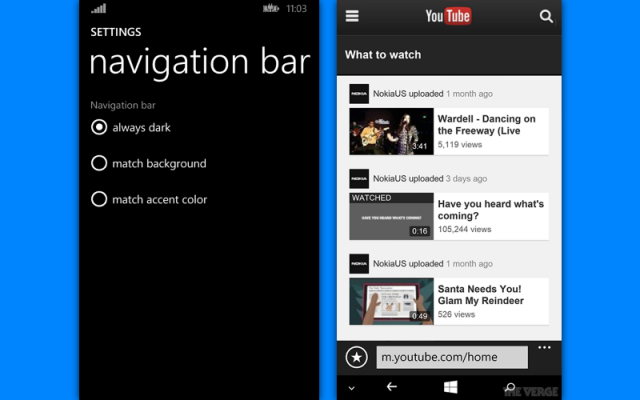 wp 8.1 virtual buttons