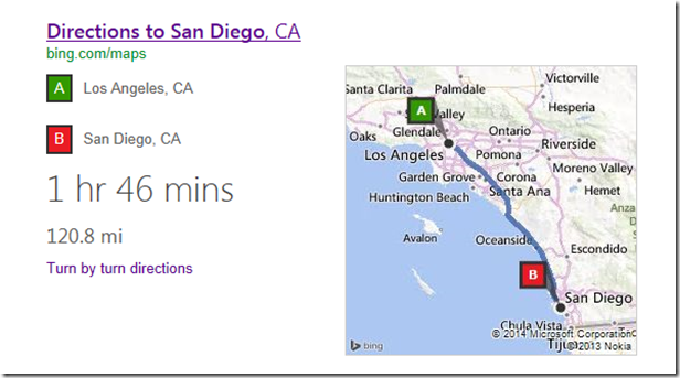 bing directions